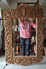 Hand Carved wood heavy Wide Ornate Floral Baroque Picture Mirror Frame 73x45 in