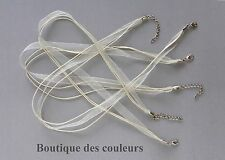 LOT DE 3 COLLIERS CORDONS RUBAN ORGANZA  BLANC CREME CREATION BIJOUX