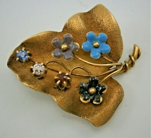14K Yellow Gold Leaf Pin with Diamond, Ruby, & Sapphire, Flowers, Vintage