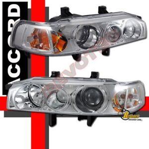 Chrome Projector Headlights 1 Pair For 90 91 92 93 Honda Accord DX LX EX