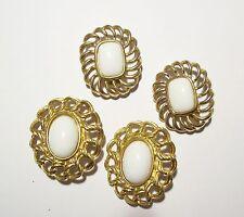 2 Pr Vintage TRIFARI White & Gold Tone Lacy Clip Earrings