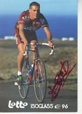 carte cycliste PETER VERBEKEN (lotto isoglass) 1996 signée