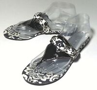 Talbots Women's Thong Sandals Size 7.5 Black White Floral Patent Leather Silver