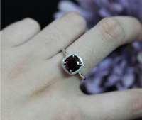1.6ct Cushion Cut Red Garnet Engagement Ring 14k White Gold Finish Halo Design