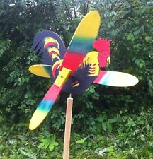 Wooden Windmill Rooster Spinner Whirligig Wind Spinner Folk Art Hand painted