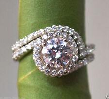 2.10 ct Brilliant Diamond Engagement Matching Wedding Band Solid 14k White Gold