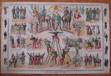 ANCIENNE AFFICHE AUX HEROS DE FRANCE VIVE LA CLASSE 1870 / 1890