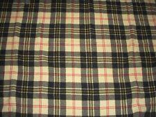 Vintage Black Ivory Plaid Wool Blanket Throw 64 x 60