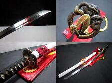 Hand forged clay tempered folded steel blade katana sword snake tsuba Full tang