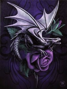 DRAGON BEAUTY ANNE STOKES SMALL CANVAS PICTURE ART PRINT GOTHIC PURPLE ROSE WING