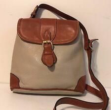 Liz Claiborne Taupe Pebbled Leather Cross Body Handbag, Purse, Brown Saddle Trim
