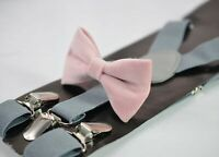 Blush Dusty Pink Velvet Bow tie + Light Grey Elastic Suspenders Men Youth or Boy