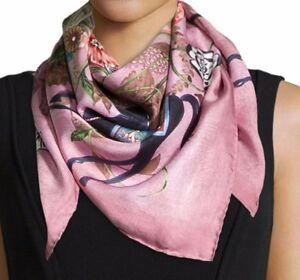 NEW $440 GUCCI Ofelie Floral Silk  Twill Print Scarf Pink Multi