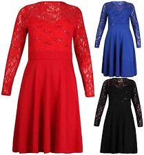 Knee Length Lace Long Sleeve Dresses for Women