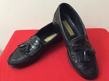 JOHNSTON AND MURPHY DOMANI KILTED TASSEL LOAFER SHOES MENS SZ 8 BLK (bx25)