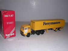 """Herpa #813001 Iveco Cab w/""""Ferrymasters&#034 ; Covered Trailor Yellow H.O.Gauge"""