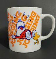 Peanuts Snoopy and Woodstock Jogging Coffee Cup Mug Vintage 1965