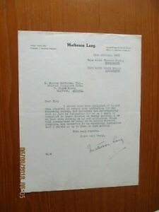 1922 MATHESON LANG  ACTOR AUTOGRAPHED LETTER SIGNED THE THEATRE