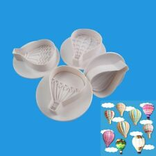 4x Hot Air Balloon Cake Cookies Biscuits Stamp Plunger Cutter Baking Mould Tool