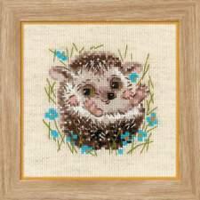 Stickpackung Stickbild sticken 13x13 cm kleiner Igel little Hedgehog Kreuzstich