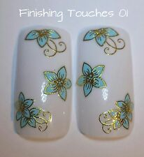 Nail Art Sticker- 3D Flower Decal #250 TJ017 Transfer Wrap Blue Metallic Gold