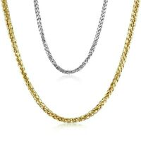 14K Solid Yellow & White Gold Italy Fancy Round Wheat Chain Necklace 2.5 mm