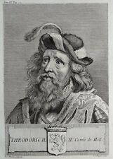 Gravure Antique print THEODORIC II Comte de Hollande Flipart Count of Holland