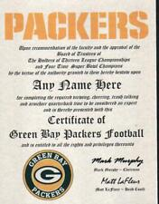 GREEN BAY PACKERS TRUE FAN MUST HAVE  CERTIFICATE   DIPLOMA  MAN CAVE OFFICE