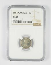 PL65 1955 Canada 10 Cents - Graded NGC *085