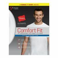 5-Pack Hanes Ultimate Men's Comfort Fit Crewneck Undershirt - White - S-XL