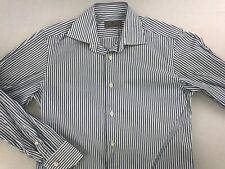 CANALI BUTTON DOWN LONG SLEEVE DRESS SHIRT 15 - 34/35 BLUE WHITE STRIPE
