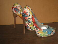 "JESSICA SIMPSON FLORAL DESIGN WOMENS SHOES SIZE 8 1/2 B 5"" HEELS"