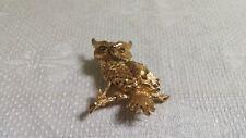 Crystal Eyed Owl Brooch Pin Vintage Monet Textured Goldtone Metal Green