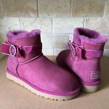 UGG Karlie Brooch Bow Swarovski Bling Bougainville Suede Mini Boots Size 8 Women