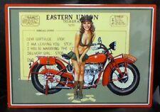 "16 1/2 "" X 12"" Eastern Union Telegram Pin Up Girl Motorcycle Metal Sign New"