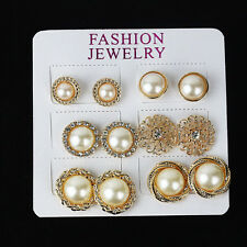 12pcs Luxury Gold Plated Pearls Rhinestone Crystal Flower Ear Studs Earring #H