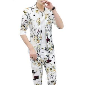 Hot Men's Summer Printing Floral Formal Dress Blazer Jacket Pants Slim Suit 2PCS
