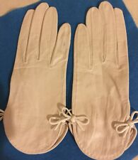Vintage French Kidskin Leather Embroidered Tips White Gloves-Women'S 6, New