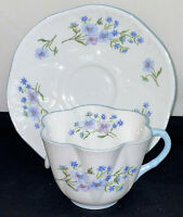 Shelley China *DAINTY SHAPE*BLUE ROCK* CUP & SAUCER