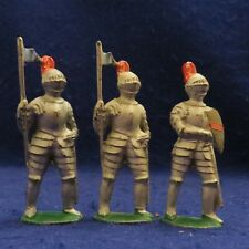 Lot of 3 Vintage Barclay Hand Painted Cast Lead Knight Figures - SEE PHOTOS