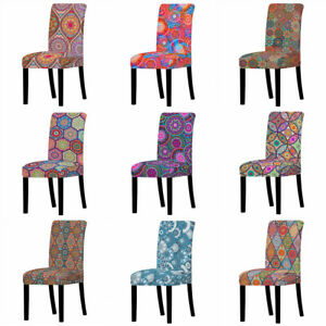 1/4/6Pcs Spandex Stretch Dining Chair Covers Printed Seat Slipcovers Home Decor