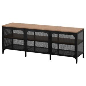 Brand New IKEA FJALLBO Black TV Bench Table Unit Mesh Doors Shelves 903.392.90