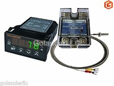 Universal 1/32DIN PID Temperature Controller, Green + 25A SSR + K thermocouple
