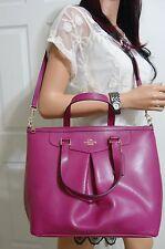 Coach F34680 X Grain Leather Pleated Tote Shoulder Handbag Satchel NWT Cranberry