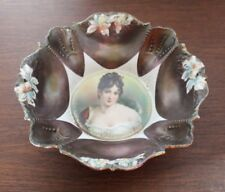 "RS Prussia Shield Mold Tiffany Finish Madame Recamier 10"" Portrait Bowl"