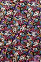 Folklorico Dia De La Catrina Black Sugar Skull Small Alexander Henry Fabric Yard