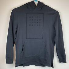 TOPMAN Mens Hoodie Fashion Sweatshirt Kangaroo Pocket Gray Spell Out Size L