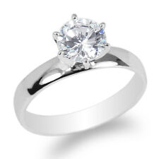 Cz Simple Fancy Ring Size 4-10 JamesJenny 10K White Gold 1.0ct Clear Round