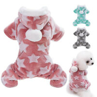 Dog Warm Clothes Hoodie Costume Fleece Pet Puppy Cat Pajamas Jumpsuit Fall
