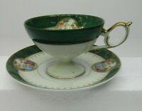VTG Green Victorian Tea Cup & Saucer Japan